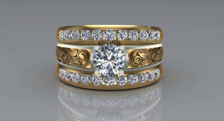 14k Custom western wedding rings
