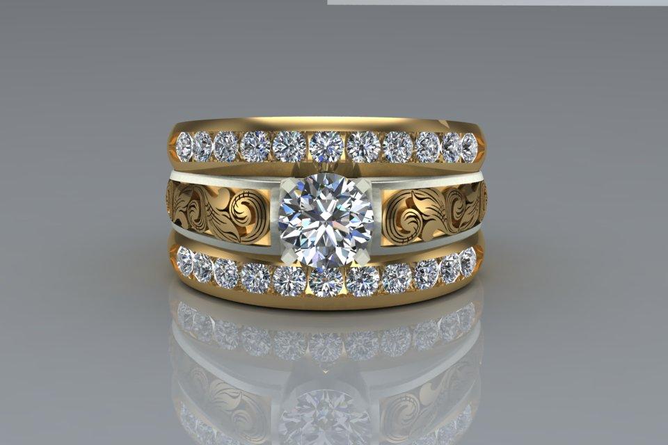 14k Custom Western Wedding Rings
